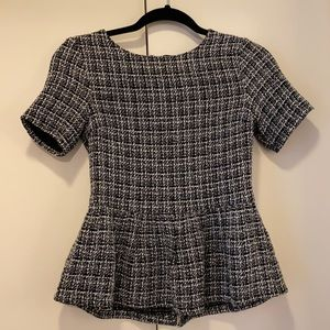 Lucca Couture black and white tweed peplum shirt